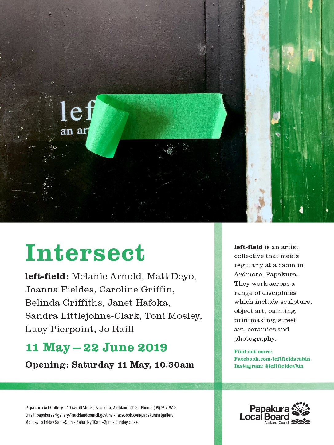 Invitation from Joanna Fieldes to left field group art exhibition opening